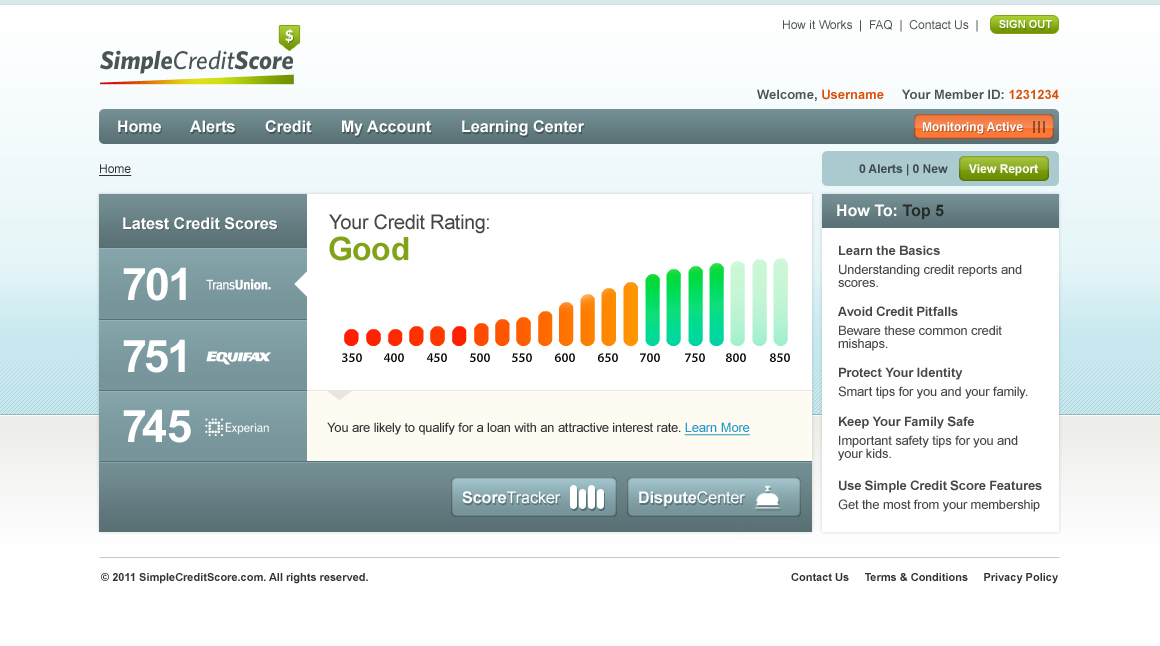 Simple Credit Score - Dashboard